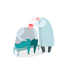 mental psychiatrist doctor at work and patient vector image
