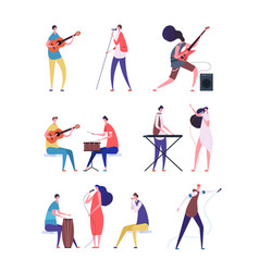 musicians set people performing rock music vector image