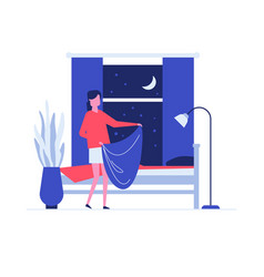 Neat woman making bed flat vector