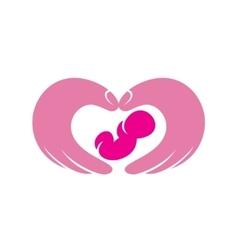newborn balying on hand symbol childbirth vector image