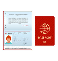 opened international passport template with red vector image
