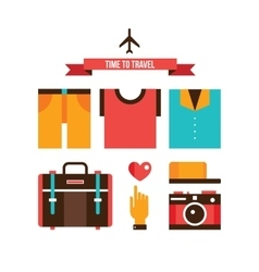 Packing bags Summer clothes Vacation Travel vector