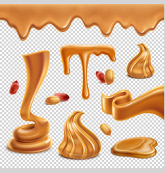 Peanut butter realistic transparent set vector