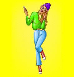 pop art hipster girl listens music vector image