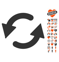 Refresh ccw icon with love bonus vector