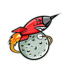 rocket launching off moon mascot vector image