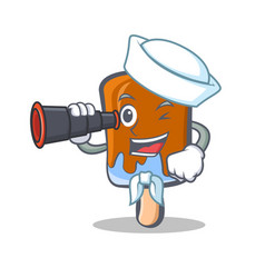Sailor ice cream character cartoon with binocular vector