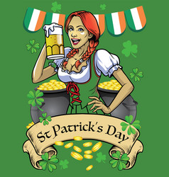 Saint patrick day poster with beautiful girl hold vector