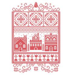 Scandinavian christmas village pattern vector