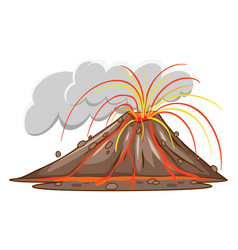 Scene with volcano erupts with lava coming out vector