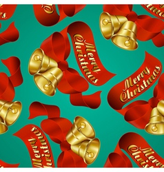 seamless merry christmas bells wrapping paper vector image