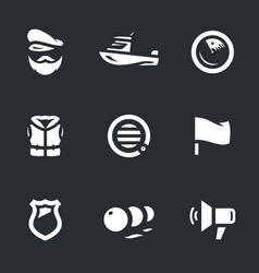 set coast guard boat icons vector image