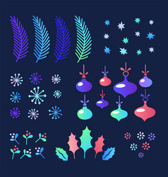 set of christmas elements for design fir branches vector image