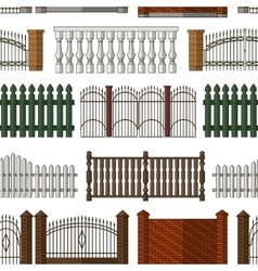 Set of gates and fences pattern vector