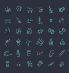 simple set of drugs related line icons vector image
