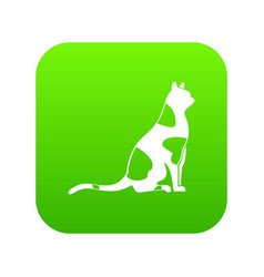 sitting cat icon digital green vector image