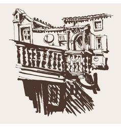 Sketching old building in budva montenegro vector