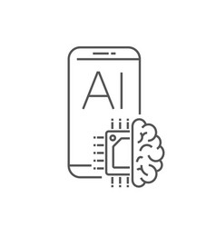 smartphone device icon with ai processor design vector image