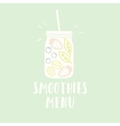 Smoothies menu with jar full of vector image