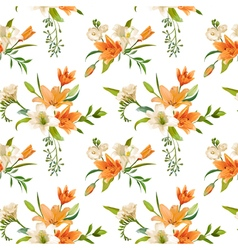 Spring Lily Flowers Backgrounds - Seamless Pattern vector