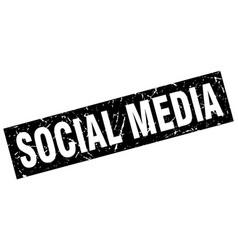 square grunge black social media stamp vector image