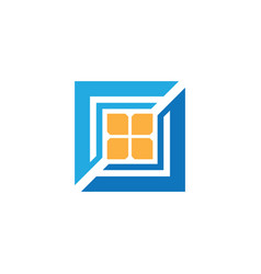 Square windows business logo vector