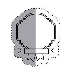 Sticker silhouette border heraldic decorative with vector