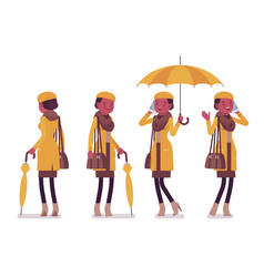 stylish young black woman with umbrella wearing vector image