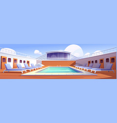Swimming pool and beach chairs on cruise ship deck vector