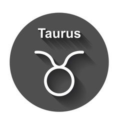 Taurus zodiac sign flat astrology with long shadow vector