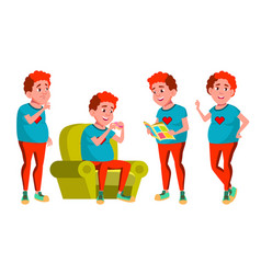 teen boy poses set red head fat gamer vector image