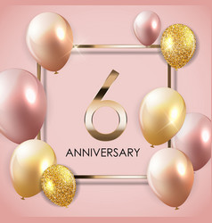 Template 6 years anniversary background with vector