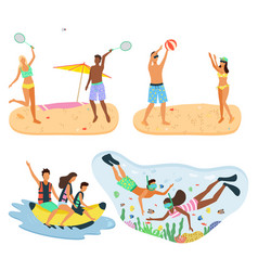 tennis players volleyball and diving snorkeling vector image