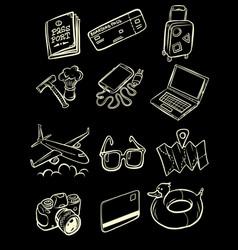 travel tourism collection set icons symbols sketch vector image
