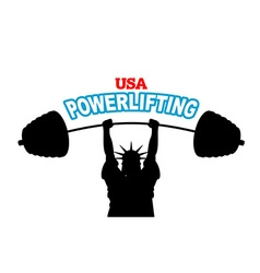 USA powerlifting emblem strong Statue of Liberty vector image vector image