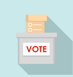 Vote election box icon flat style vector