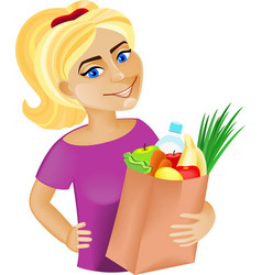 Woman with food vector image