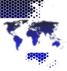 world map in hexagons vector image