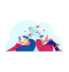 Young couple friends or lovers communicating by vector