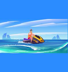 young man ride aquabike jet ski in sea vector image