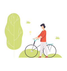 young man walking with bike in park guy relaxing vector image