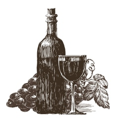 bottle of wine logo design template vector image