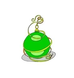 Christmas ball with beauty ribbon vector image