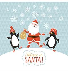 cute penguins and Santa vector image vector image