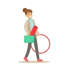 Fitness club trainer walking to work with hula vector