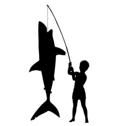 boy catches shark vector image vector image