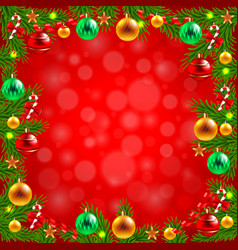 Christmas tree branches around the red background vector image