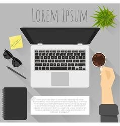 Flat design workplace template vector image