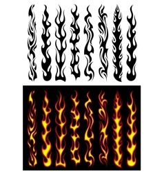 Tribal flames and elements vector image