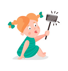 Cute cartoon redhead girl making selfie with a vector